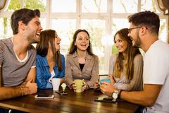 Friends at the cafe royalty free stock photo