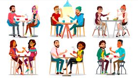 Friends In Cafe Vector. Man, Woman, Boyfriend, Girlfriend. Sitting Together And Drinking Coffee. Bistro, Cafeteria. Restaurant. Communication Breakfast Concept vector illustration