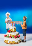 Friends with cake Royalty Free Stock Images