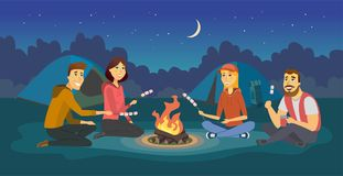 Friends on a camp - cartoon people character illustration. Happy smiling men and women sitting by a fire, preparing marshmallows in the night, having fun royalty free illustration