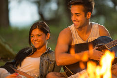 Friends camping Stock Image