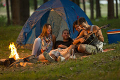 Friends camping Royalty Free Stock Photo