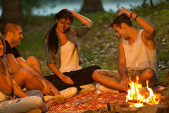 Friends camping Stock Photography