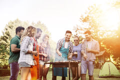 Friends camping and having a barbecue Royalty Free Stock Image