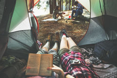 Friends Camping Relax Vacation Weekend Concept Stock Image