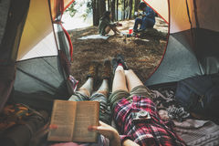 Friends Camping Relax Vacation Weekend Concept. FRiends Camping Outdoor Forest Concept Royalty Free Stock Photos