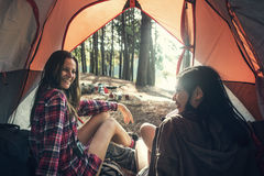 Friends Camping Tent Woods Outdoors Concept. Girl friend camping tent woods outdoors wanderlust royalty free stock photo