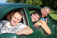 Friends in car. Three friends in car, summer Royalty Free Stock Photos