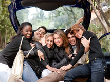 Friends in a car Stock Images