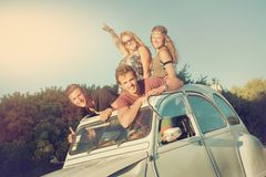 Friends in a car Royalty Free Stock Image