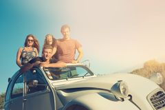 Friends in a car stock photography