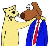 Friends. Cartoon illustration of unexpected friends - a cat and a dog Royalty Free Stock Photography
