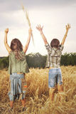 Friends celebrate nature and their freedom Royalty Free Stock Images