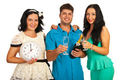Friends celebrate New Year Stock Photos
