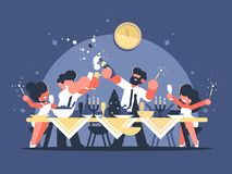 Friends celebrate new year. At table with champagne. Vector illustration Stock Photos