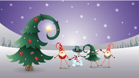 Friends celebrate Winter Solstice, Christmas and New Year. Scandinavian gnomes and snowman with decorated christmas tree. Purple w. Friends celebrate Winter vector illustration
