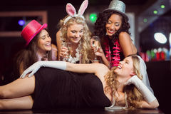 Friends celebrating bachelorette party Stock Image