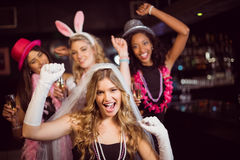 Friends celebrating bachelorette party Stock Images