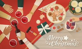 Friends celebrating Christmas together. Group of friends celebrating Christmas together, they are drinking wine and eating royalty free illustration
