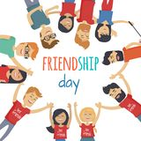 Friends Celebrating Friendship Day Vector Concept. Celebrating friendship day concept. Men and women cartoon characters in circle looking down vector on white vector illustration