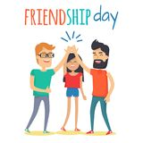 Friends Celebrating Friendship Day Vector Concept. Celebrating friendship day concept. Two man and woman cartoon characters clapping hands in high five gesture royalty free illustration