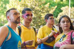 Madrid, Spain - 07 July 2019 - Gay Pride, Orgullo Gay - Curious young people stock images