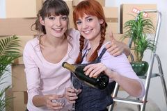 Friends celebrating move Royalty Free Stock Images