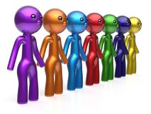 Friends character social network teamwork chain line people. Diverse friendship row individuality team seven different cartoon persons unity meeting icon Royalty Free Stock Photos