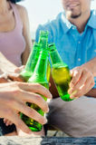 Friends cheers their beers at a party Stock Photos