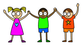 Friends children. Cartoon style illustration of three friends kids with the hands up - isolated on white background Stock Images