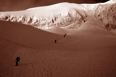 Friends on Chipicalqui glacier near camp 2 Royalty Free Stock Photo