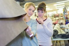 2 friends choosing carpet holding up sample swatch Stock Photography