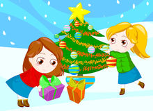Friends at Christmas stock photo