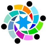 Friends circle. Isolated line art emblem design stock illustration