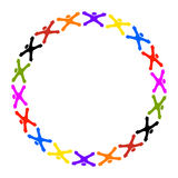 Friends circle. Circle of colorful abstract people with thumb up royalty free illustration