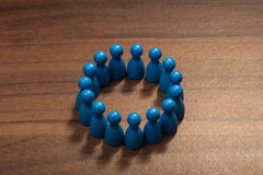 Friends circle concept, figurines on wood table Stock Images
