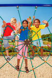 Friends at a city playground Royalty Free Stock Photos
