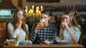 Friends clink glasses of beer close-up on the background of the pub.  stock footage