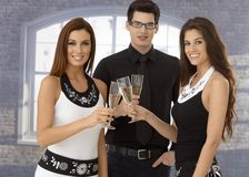 Friends clinking champagne flute Stock Photos