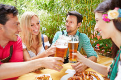 Friends clinking glasses with beer Royalty Free Stock Image