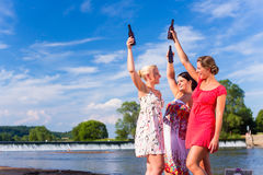 Friends clinking and saying Cheers at river beach. N Stock Image