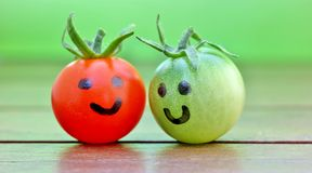 Friends. Closeup of two tomatoes with self painted faces Royalty Free Stock Images