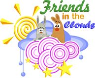 Friends in the clouds. Cartoon animals friends in the clouds with the sun and the circles Vector Illustration