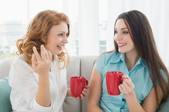 Friends with coffee cups conversing at home. Two happy young female friends with coffee cups conversing in the living room at home royalty free stock images