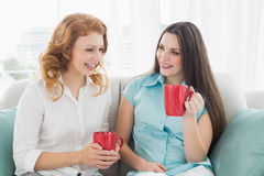 Friends with coffee cups conversing at home. Two happy young female friends with coffee cups conversing in the living room at home stock photo