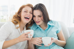 Friends with coffee cups enjoying a conversation at home. Two happy young female friends with coffee cups enjoying a conversation in the living room at home royalty free stock photo