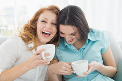 Friends with coffee cups enjoying a conversation at home Stock Photos