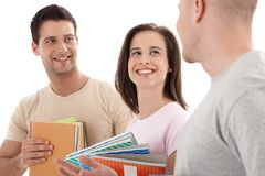 Friends from college chatting, laughing Royalty Free Stock Photography