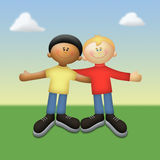 Friends of Color. Two happy friends of different color vector illustration