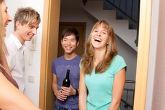 Friends Coming Over For A Visit. Having fun Royalty Free Stock Image